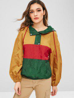 ZAFUL Contrast Loose Windbreaker Hoodie - Multicolor L