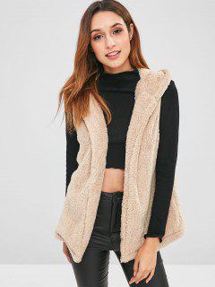 Hooded Faux Fur Gilet - Camel Brown M