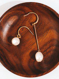 Faux Pearl Asymmetric Drop Earrings - Gold