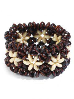 Ethnic Floral Pattern Beads Bracelet - Coffee