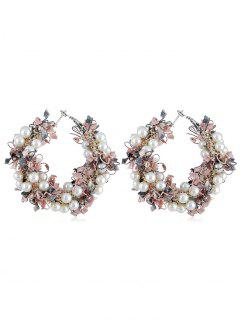 Statement Flower Decoration Artificial Pearl Earrings - Light Pink
