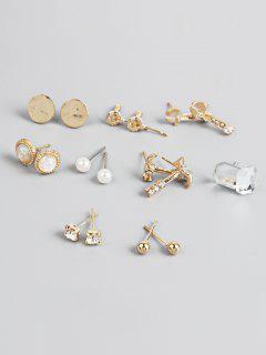 Screw Pattern Round Rhinestone Earrings Set - Gold