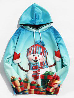 Christmas 3D Snowman Print Pullover Hoodie - Light Sea Green Xl