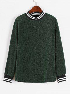 Shiny Stripes Panel Sweatshirt - Deep Green M