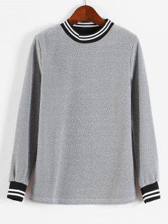 Glänzendes Streifen-Sweatshirt - Silber L