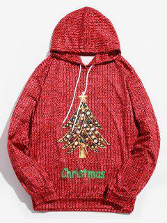 Drawstring Christmas Diamond Tree Printed Hoodie - Lava Red M