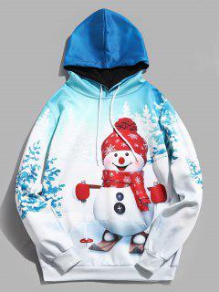Cute Christmas Snowman Print Drawstring Hoodie - White L