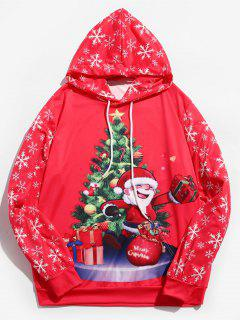 Santa Claus Printed Drawstring Hoodie - Rose Red L
