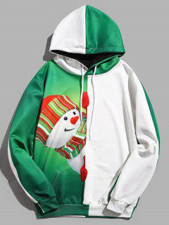 Snowman Pattern Contract Color Pullover Hoodie - Deep Green L