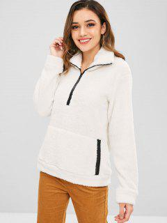ZAFUL Half Zip Faux Fur Sweatshirt - White M