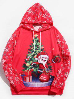 Sweat à Capuche Père Noël Imprimé à Cordon - Rouge Rose Xl