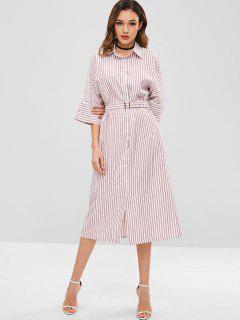ZAFUL Striped Midi Shirt Dress With Belt - Pink S