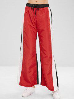 Pantalones Con Abertura Ancha De Bloques De Color De Pierna Ancha - Rojo M