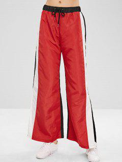 ZAFUL Wide Leg Color Block Slit Pants - Red Xl