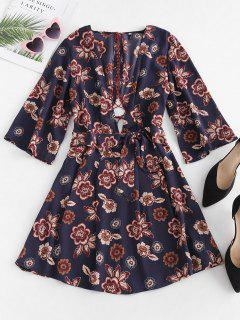 Low Cut Floral Lace-up Dress - Multi S