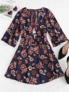 Low Cut Floral Lace-up Dress - Multi L