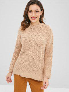 Hooded High Low Pullover - Tan