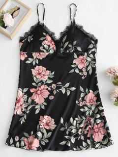 Padded Flower Print Cami Night Dress - Black L