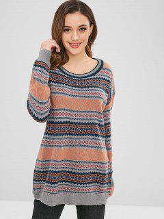 Übergroßer Grafischer Pullover - Multi