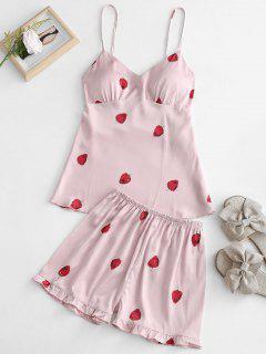 Satin Erdbeer Print Pyjama Set - Helles Rosa M