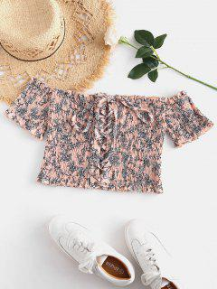 Lace-up Floral Crop Smocked Top - Multi M