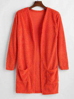 Pockets Open Front Fluffy Coat - Papaya Orange S