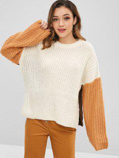 Suéter Grueso De Color Block Slit - Multicolor