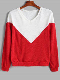 Pullover Mit V-Ausschnitt Und Zweifarbigem Sweater - Lava Rot S