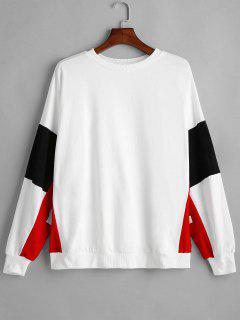 Graphic Sleeve Pullover Übergroßes Sweatshirt - Weiß