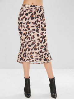 Hohe Taille Leopard High Low Rock - Vanille Xl