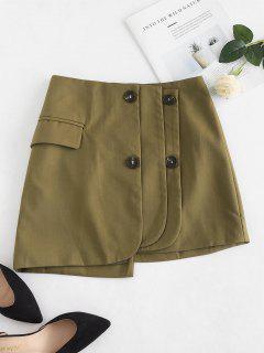 Flap Pocket Origami Mini Skirt - Army Green S