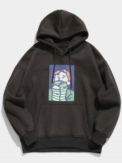 Cartoon Printed Kangaroo Pocket Pullover Hoodie - Carbon Gray Xl