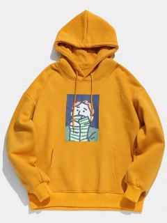 Cartoon Printed Kangaroo Pocket Pullover Hoodie - Bee Yellow L