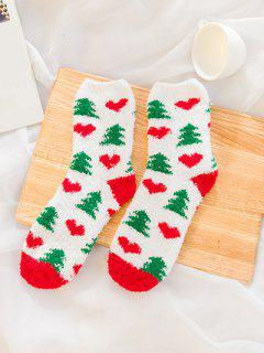 12 Pairs Christmas Theme Santa Claus Fuzzy Warm Socks - Multi-a