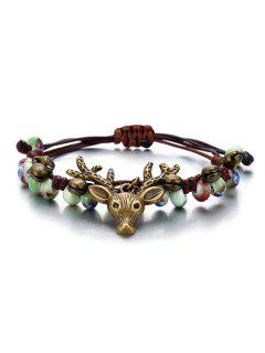 Deer Head With Bell Pattern Beaded Bracelet - Multi