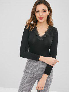 Long Sleeve Appliqued Snap Crotch Bodysuit - Black M