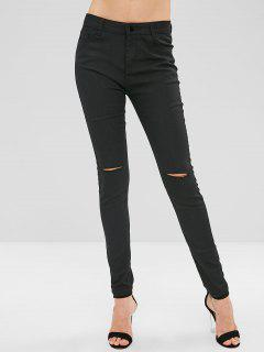 Ripped Skinny Pants With Pocket - Black S