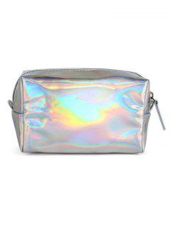Portable Color Laser Shiny Cosmetic Pouch Bag - Silver