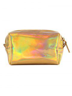 Portable Color Laser Shiny Cosmetic Pouch Bag - Gold