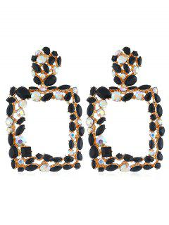 Sparkling Artificial Crystal Design Hollow Earrings Stud - Black