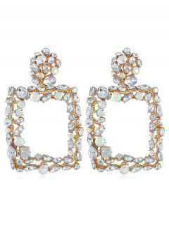 Sparkling Artificial Crystal Design Hollow Earrings Stud - White