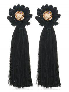 Artificial Crystal Inlaid Tassel Earrings - Black