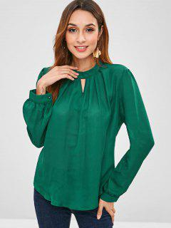 Pleated Neck Long Sleeve Top - Deep Green M