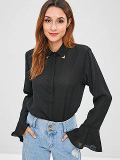 Embellished Collar Bell Cuff Shirt - Black M