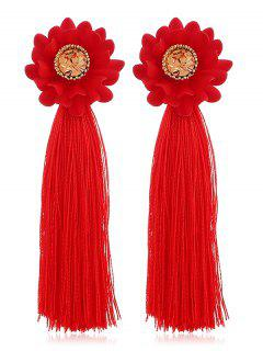 Artificial Crystal Inlaid Tassel Earrings - Red