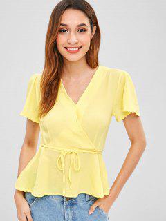 Camisa De Punto Cruzado Con Cuello Redondo - Amarillo S