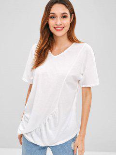 V Neck Ruched Asymmetrical T-Shirt - White Xl