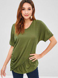 V Neck Ruched Asymmetrical T-Shirt - Army Green L