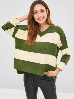 High Low Schlitz Zwei Ton Pullover - Multi