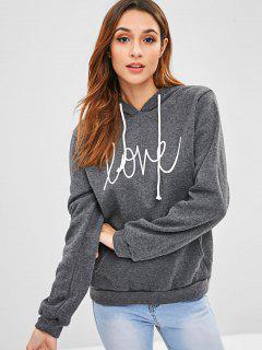 Fleece Inner Graphic Pouch Pocket Hoodie - Gray S